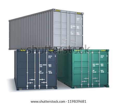 three cargo containers
