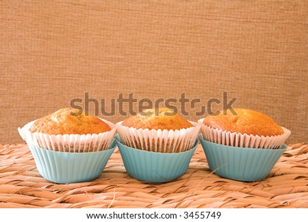 Three carrot muffins in light blue plastic cups against natural wall on grass table