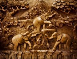 Three carved Elephant