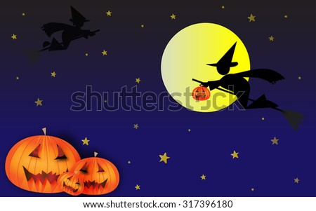Three carved pumpkins Jack O\'lantern on a Halloween night, with witches flying over the Moon