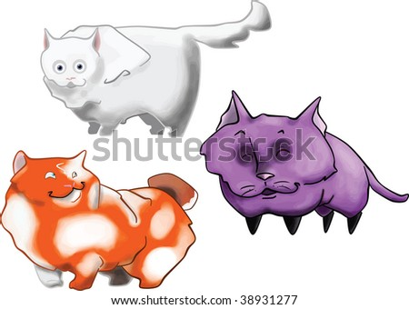 three cats with different styles and colors