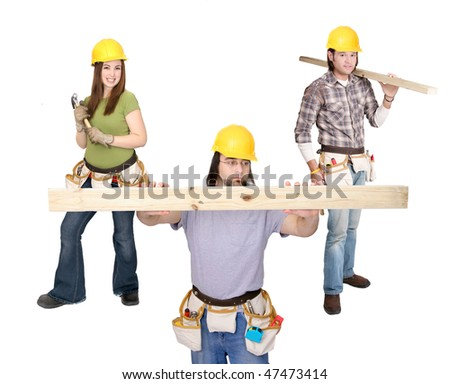 three caucasian American construction workers with yellow hardhat and tools over white full and half length portrait - stock photo