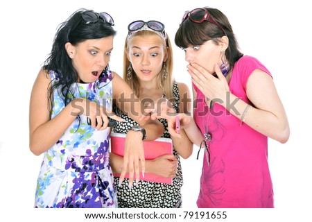 three caucasian race russian beautiful girl friend happy and discuss the pictures and sites to your laptop,isolated over white - stock photo