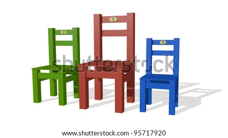 Three chairs  as podium