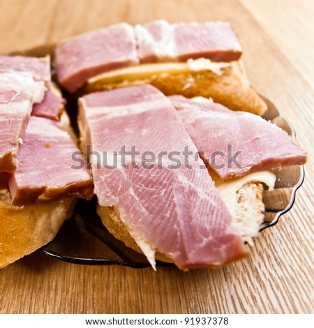 three cheese sandwich bread bacon background wooden table #91937378