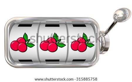 Three cherries in a row on 3 slot machine wheels or dials to illustrate big jackpot winnings betting or gambling at a game in a casino