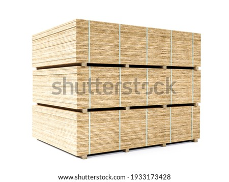 Three chipboard sheets piled up on pallets on white background Foto d'archivio ©