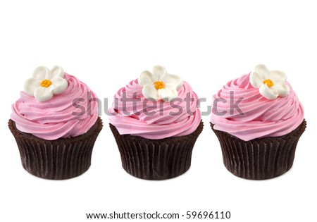 Three chocolate cupcakes with vibrant pink frosting and sugar flowers.  In a row, isolated on white.