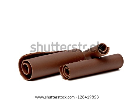 Three Chocolate Curls on white background