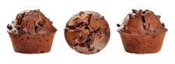 Three chocolate muffins, shot from the top, isolated on a white background with copy space