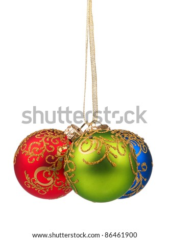 Three christmas balls isolated on white background