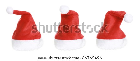 Three Christmas Santa Hat isolated on white background