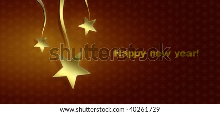 Three christmas stars on red background