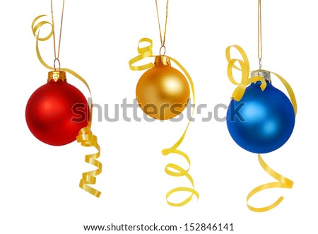 Three Christmas tree baubles isolated on white background