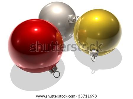 three christmastree balls