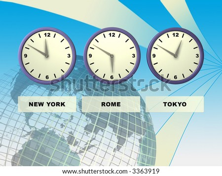 Three clocks showing different time zones, Earth on background. Digital illustration.