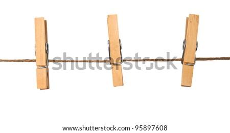three clothespins on rope ストックフォト ©