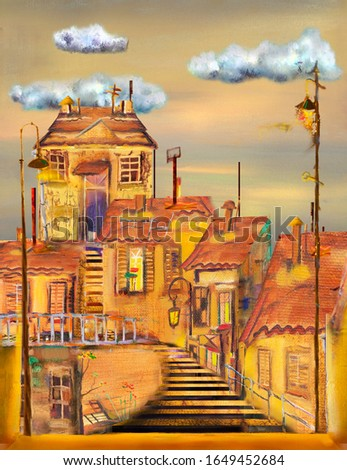 Three clouds, lanterns and a staircase in an old cozy town similar to Prague. Oil painting.