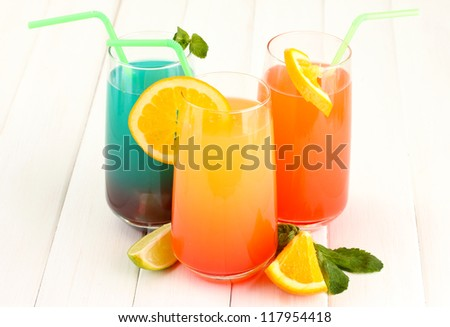 Three cocktails on white background