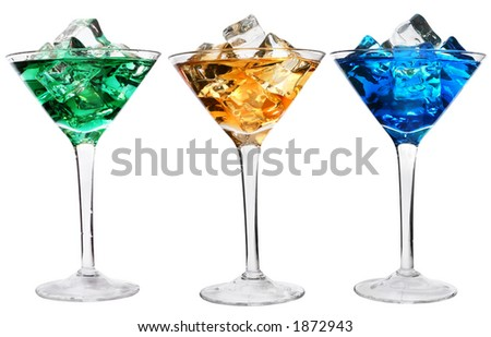 Three cocktails with ice over white