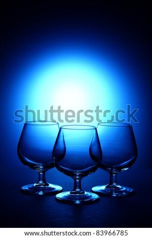Three cognac glass