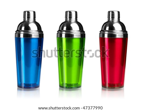 Three color cocktail shakers. Isolated on white background