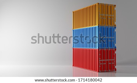 Three color Intermodal container stack on white background. Industry shipping container storage cargo in warehouse shipyard dock. Import and export concept. Studio shot. 3D illustration rendering Foto stock ©