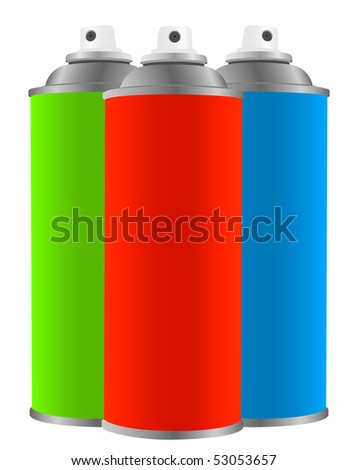 Three color spray tin on white background