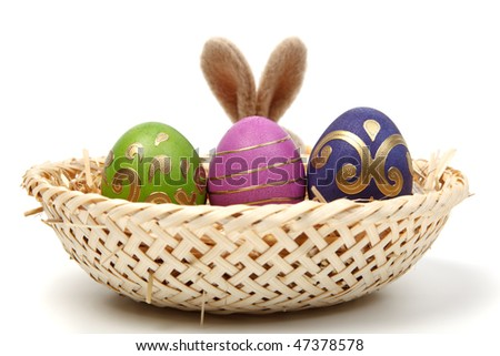 easter eggs in a basket. pictures of easter eggs in a