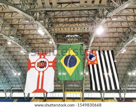 Three colored flags in sports stadium: Flag of Sao Paulo city, Sao Paulo state and Brazil with unfocused stadium in the background. Concept of sport, symbols, nationalism, patriotism and design. #1549830668