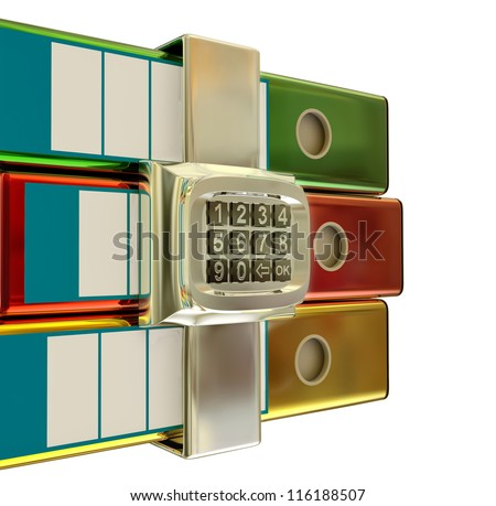 three colored folders with metallic electronic lock, stores important information