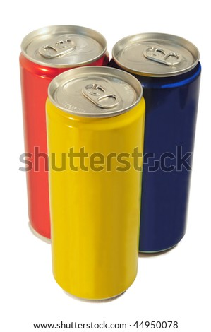 Three colored slim can isolated