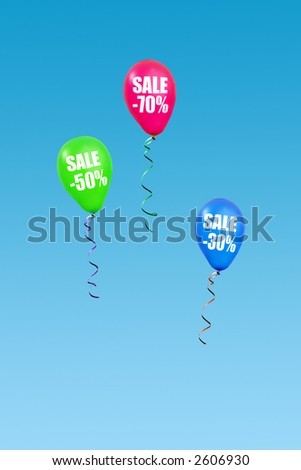 Three colorful balloons rising in the air announcing seventy, fifty and thirty percent sale over clear blue sky