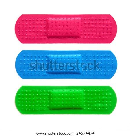 Three colorful bandages isolated in white background