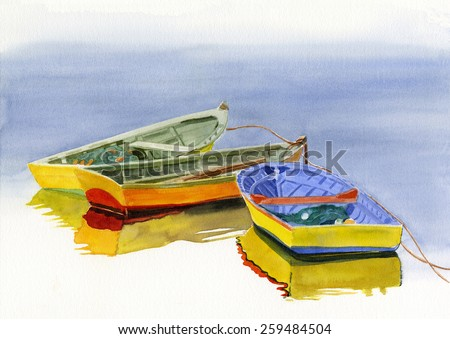 Three Colorful Boats.  Watercolor painting of three colorful Chilean boats tied together in the water with reflections