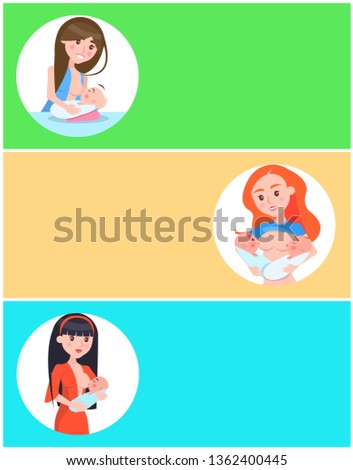 Three colorful breastfeeding cards raster illustration with feeding moms isolated on white circles text sample and push-buttons cute eating infants