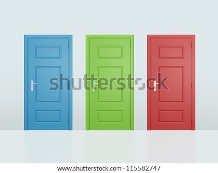 Three colorful closed doors on gray wall.