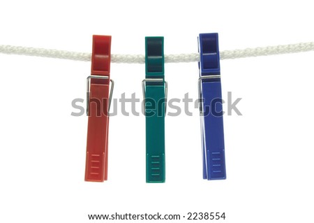 three colorful clothes-pegs/clothespins on rope (isolated on white). RGB