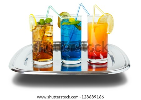 Three colorful long drinks on tray , isolated on white with shadow