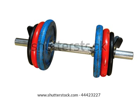 Three colors dumbbell isolated on white background