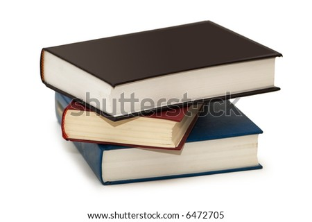 Three colourful books isolated on the white - more similar photos in my portfolio