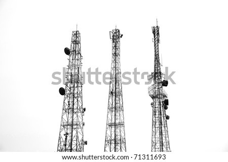 three Communication tower silhouette