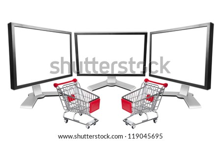 Three computer blank screen with market cart.  Isolated on white background.