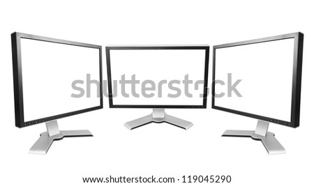 Three computer monitor with blank screen.  Isolated on white background.