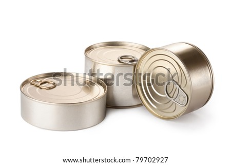Three conserve can with key. Isolated on white.