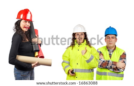 Three construction workers over a white background. Focus at front