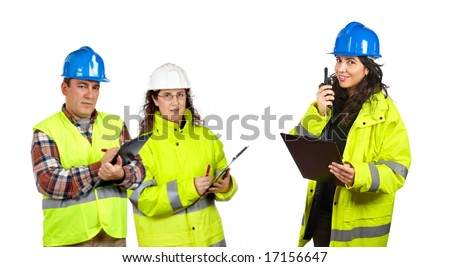 Three construction workers talking with a walkie talkie over a white background. Focus at front