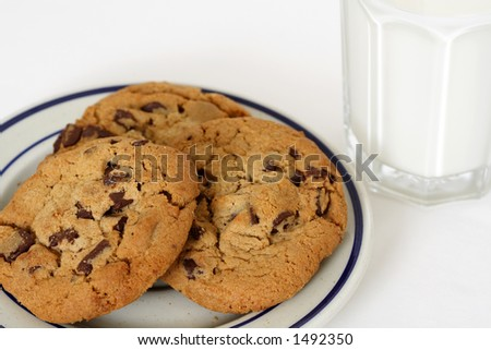 Three cookies and a glass of milk