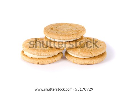Three cookies isolated on a white background