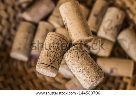 Three corks stoppers um a great cork background
